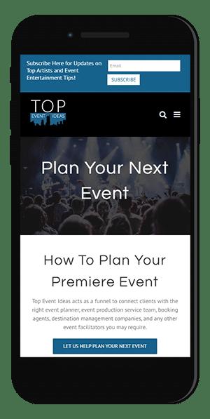 Entertainment industry website design